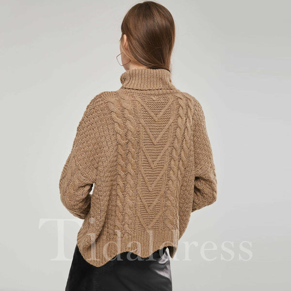 Patchwork Plain Pattern High Neck Women's Knitwear