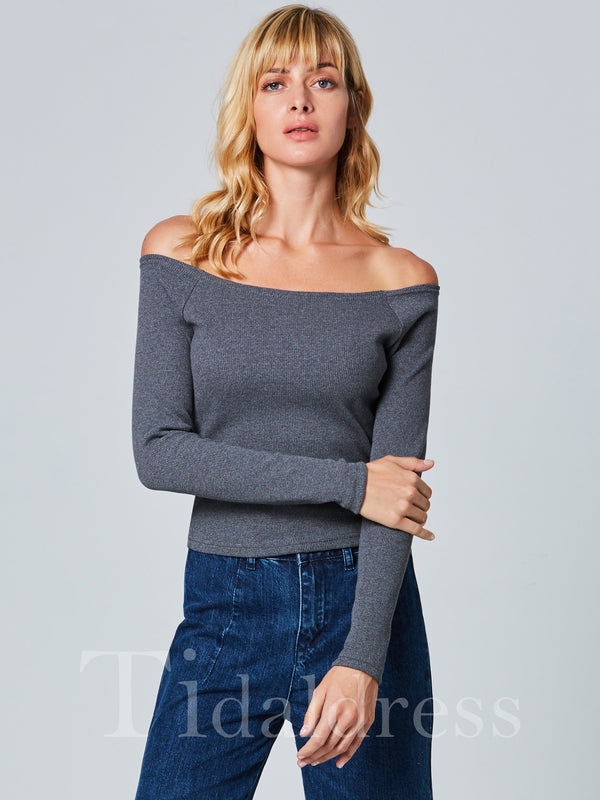 Backless Plain Pattern Knitted Fabric Women Knitwear