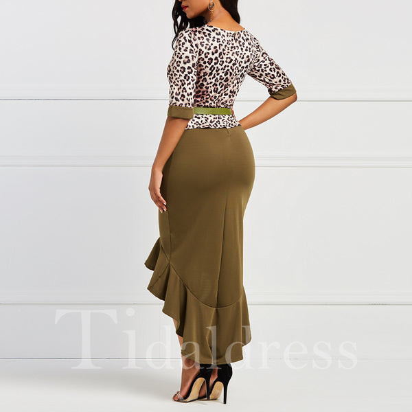 Leopard Print Splicing Fishtail Belt Twilled Mid-Calf Round Neck Women's Dress
