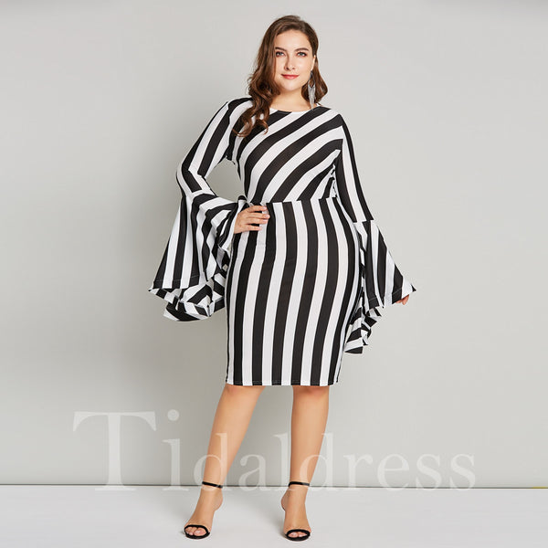Plus Size Knee Length Pullover Long Sleeve Round Neck Stripe Print Bodycon Dress