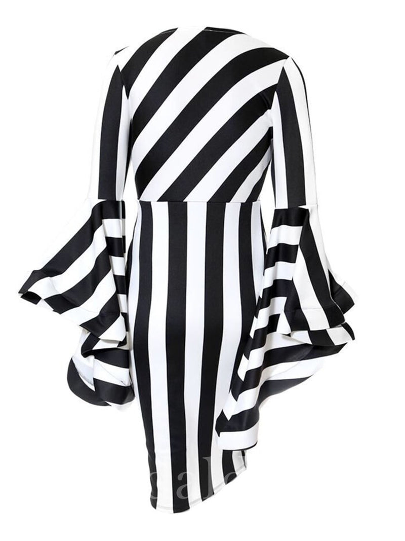 Plus Size Round Neck Stripe Print Round Neck Long Sleeve Pullover Bodycon Dress