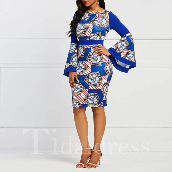 Women' Floral Square Collar Falbala Knee-Length Long Sleeve Bodycon Dress