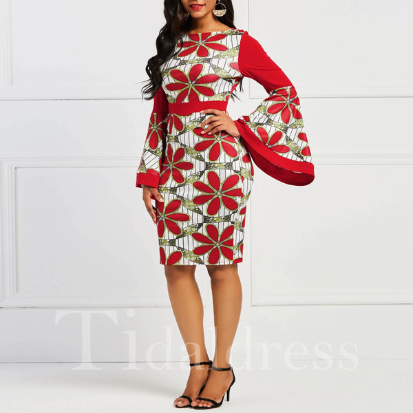 Eye-Catching Floral Falbala Sleeve Pullover Round Neck Women's Bodycon Dress