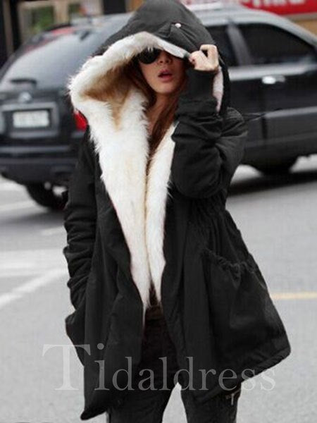 Office Lady Hooded Neckline Thick Women's Overcoat