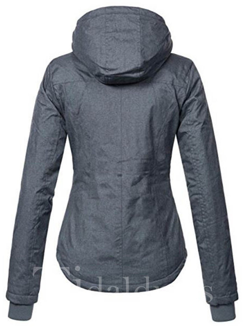 Slim Model Zipper Hooded Neckline Jacket