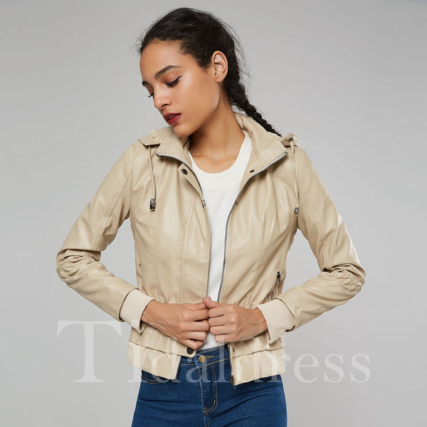 Spring Fall Zipper Long Sleeve Short Jacket