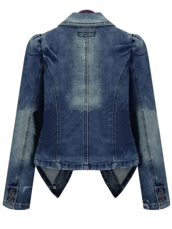 Slim Model Lapel Denim Standard Length Jacket