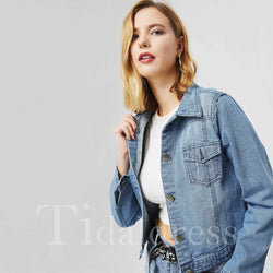 Slim Model Denim Lapel Short Plain Jacket