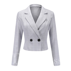 OL Style Long Sleeve Slim Model Long Sleeve Notched Lapel Plaid Pattern Button Blazer