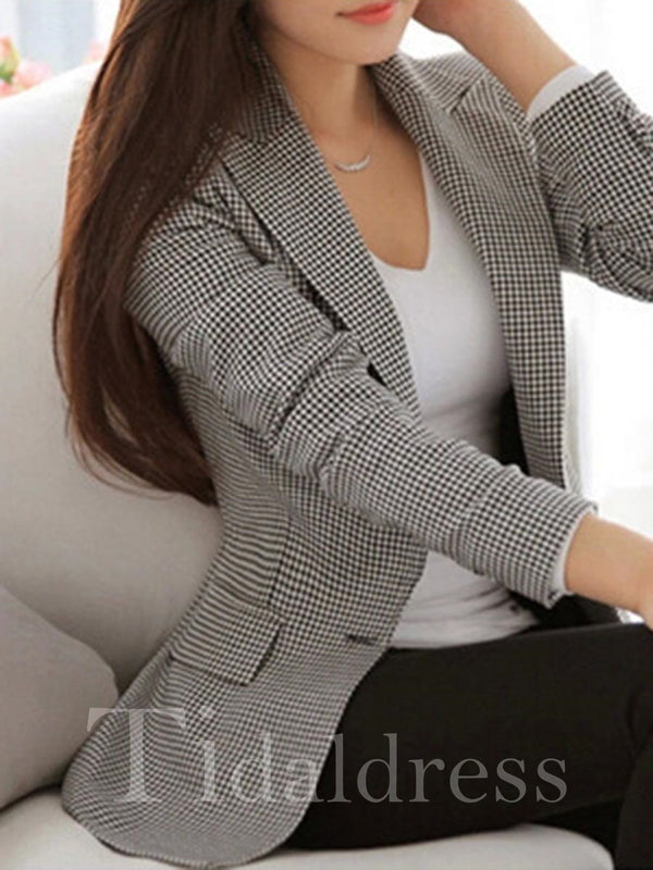 Slim Model Wear to Work Style Mid-Length Patchwork Long Sleeve Plaid Pattern Blazer