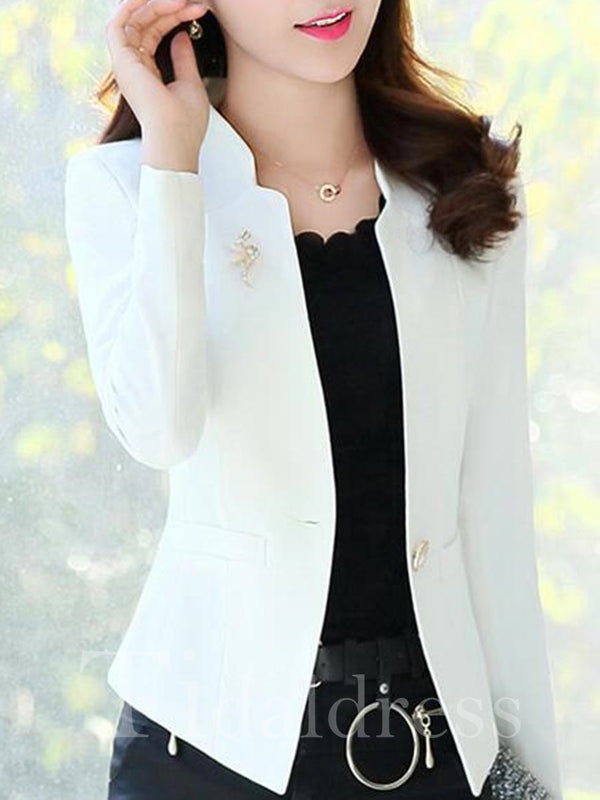 Slim Model Cotton Long Sleeve Stand Collar Single-Breasted Plain Pattern Patchwork Blazer
