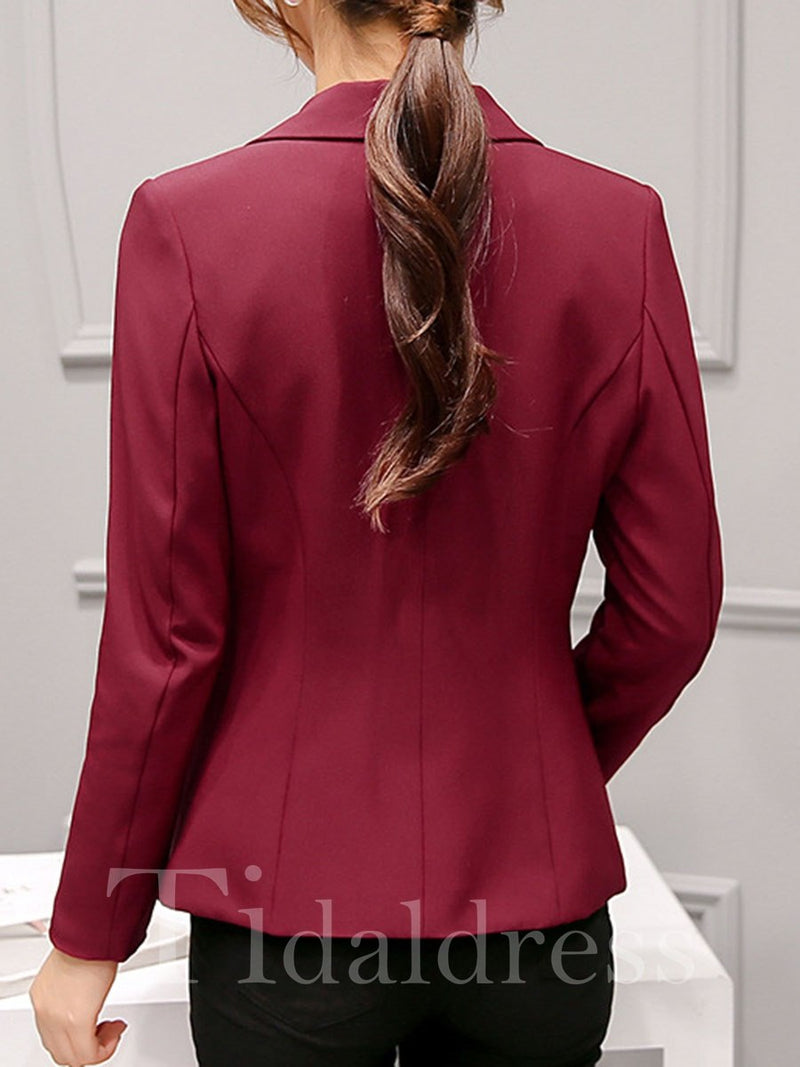 One Button Plain Pattern Notched Lapel Long Sleeve Slim Model Blazer