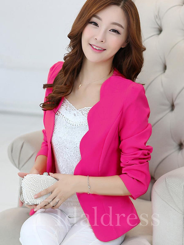 Slim Model Long Sleeve Wear to Work Style One Button Plain Pattern Blazer