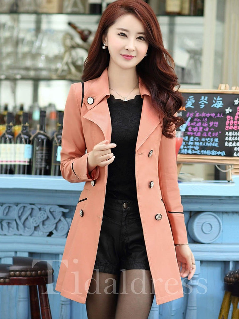 Slim Model Mid-Length Long Sleeve Double-Breasted Button Pocket Trench Coat