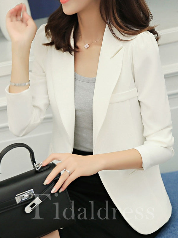 Wear to Work Style One Button Plain Pattern Notched Lapel Slim Model Blazer