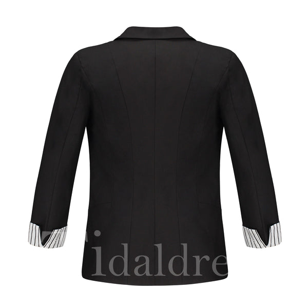 Notched Lapel Stripe Color Block Three-Quarter Sleeve Single-Breasted Patchwork Women's Blazer