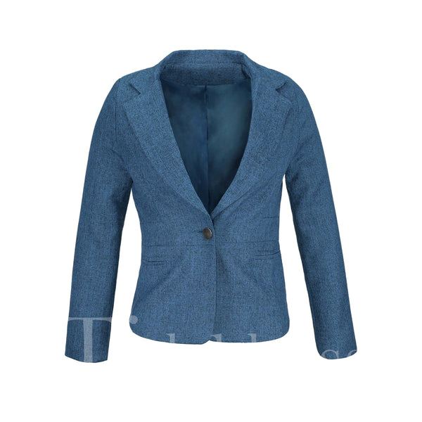 One Button Pure Color Korean Style Slim Model Notched Lapel Single-Breasted Women's Blazer