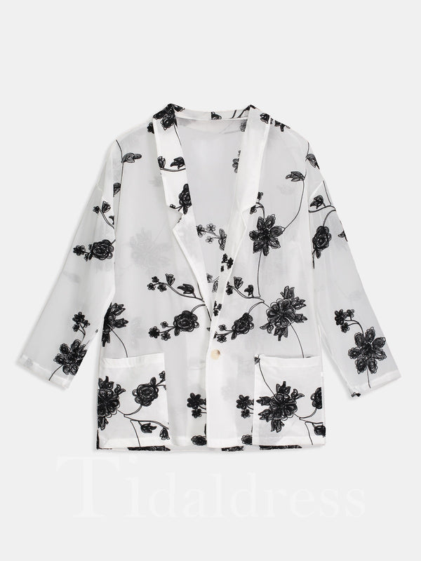 One Button Floral Pocket Loose Model Short Long Sleeve Notched Lapel Women's Blouse