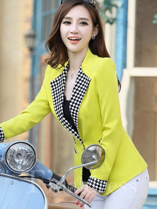 Notched Lapel Long Sleeve Print Plaid Pattern One Button Slim Model Polyester Blazer