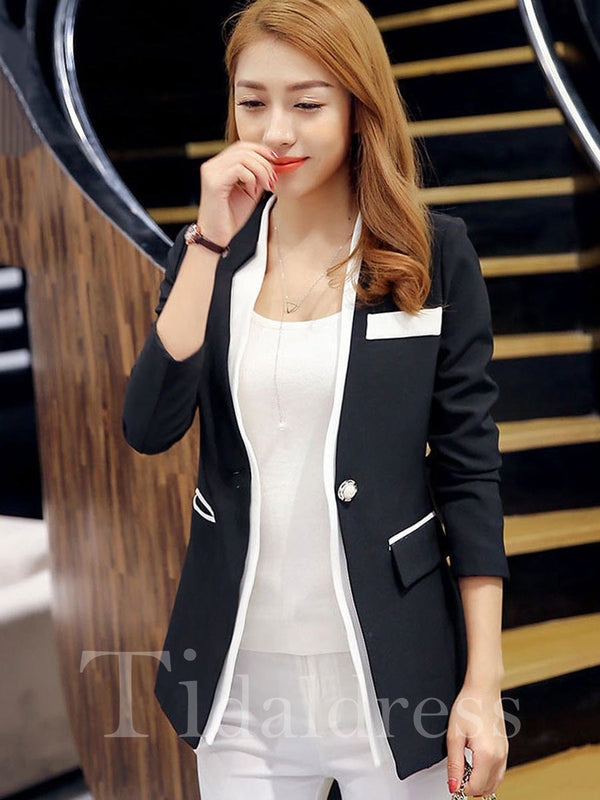 Summer Wear to Work Patchwork Plain Pattern One Button Notched Lapel Long Sleeve Blazer