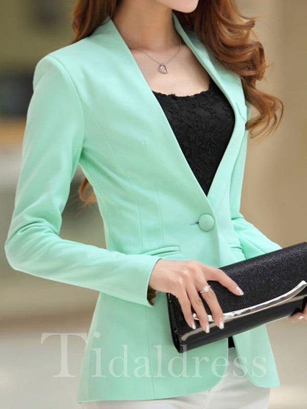 Candy Color Long Sleeves Elegant Style V-Neck Slim Model Cotton Blends Blazers