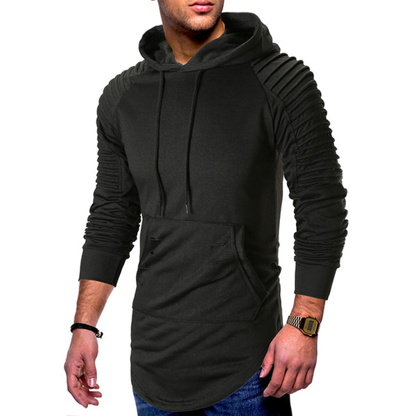 Hooded Pullover Cotton Long Sleeve Pleated Men's Hoodie