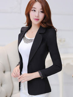 Slim Model One Button Patchwork Polyester Blazer