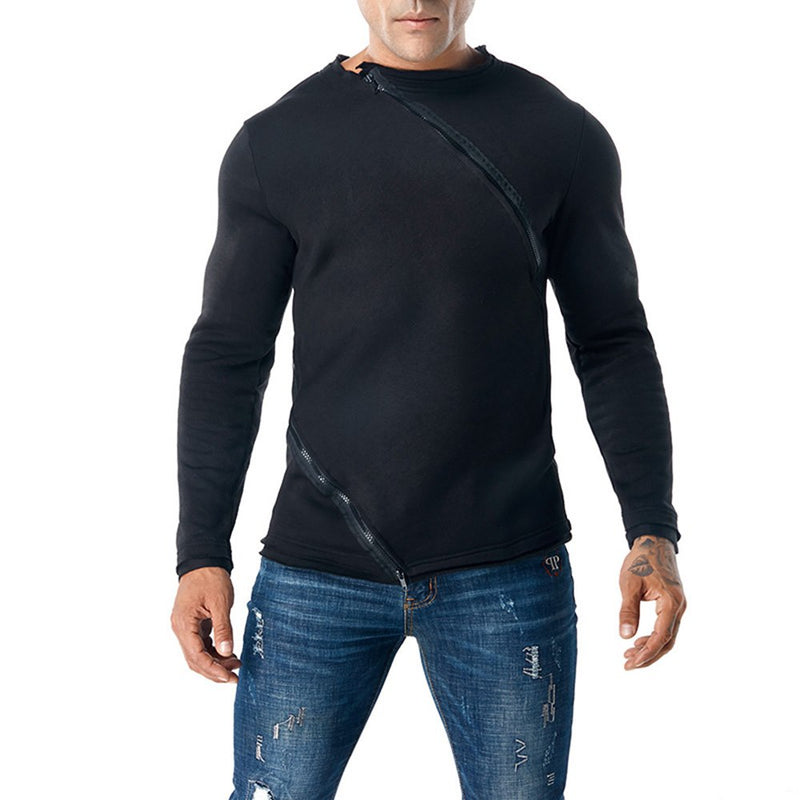 Plain Zipper Slim Pullover Mens Casual Sweatshirts