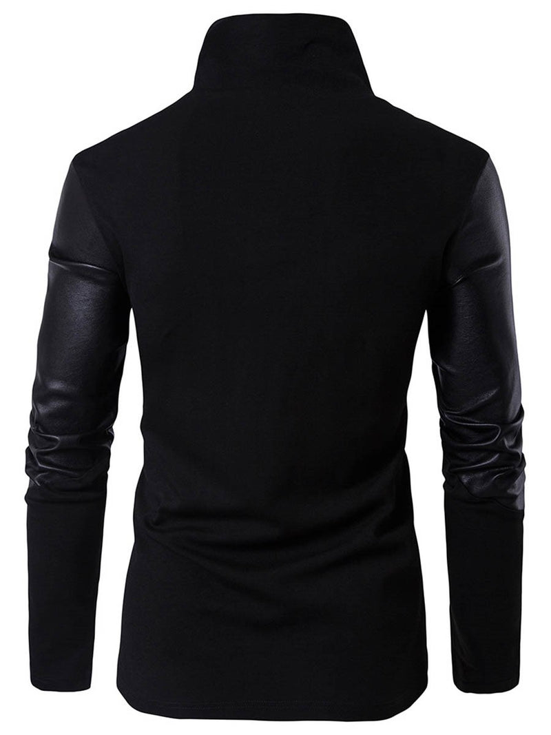 Stand Collar Zipper Slim Model Cotton Men's Sweater