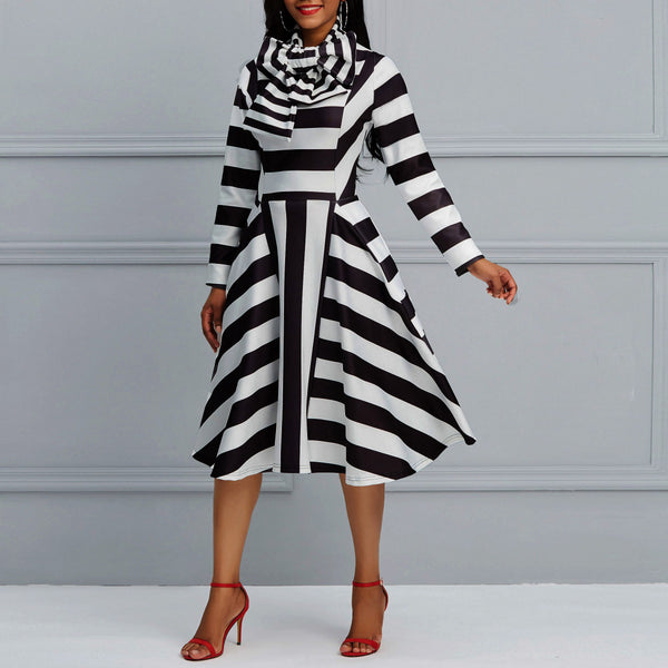 Stripe Pullover Bowknot Mid-Calf A-Line Dress