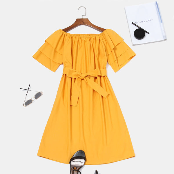 A-Line Pullover Short Sleeve Hooded Ruffle Sleeve Dress