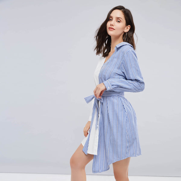 V Neck Long Sleeve Stripe Shirt Dress