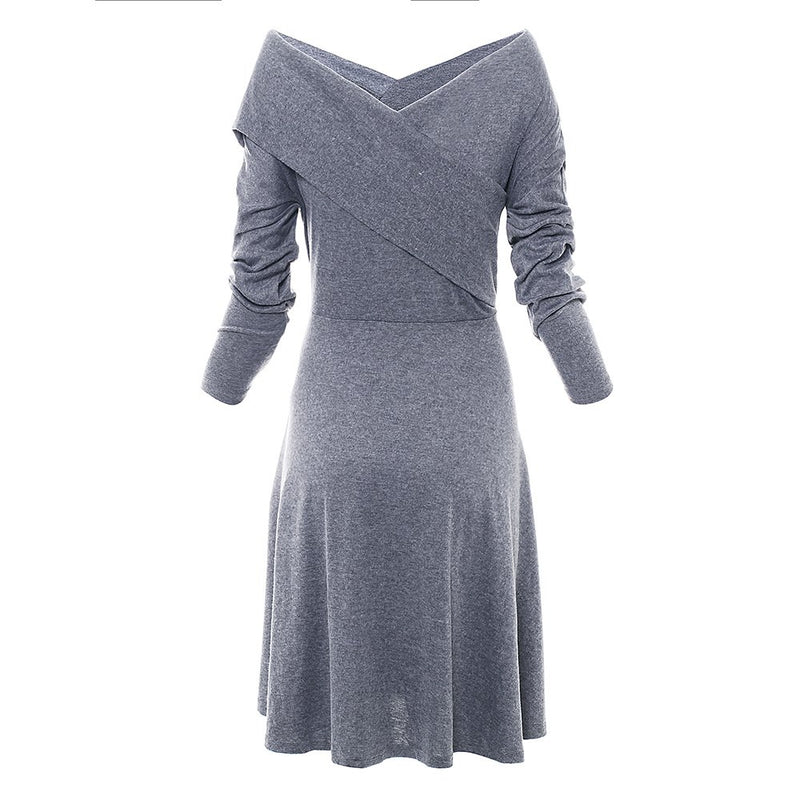 Solid Color V Neck Long Sleeves Women's Casual Dress