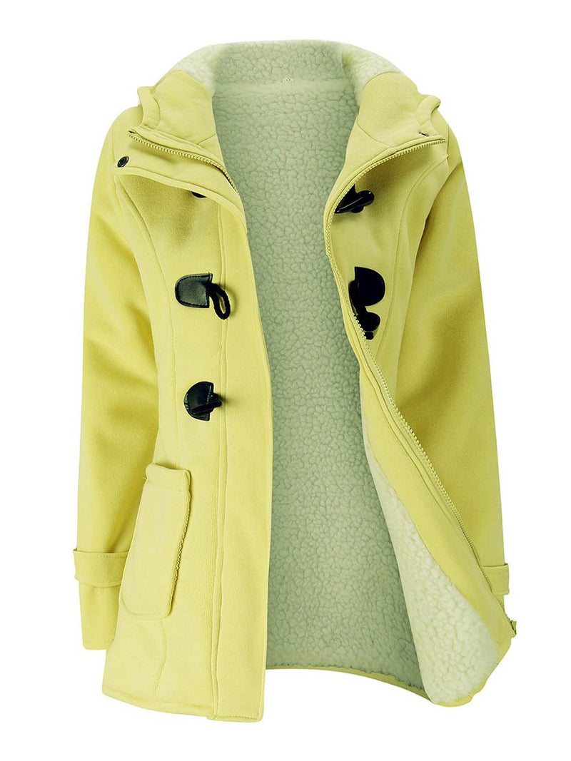 Straight Model Solid Color Cotton Mid-Length Overcoat