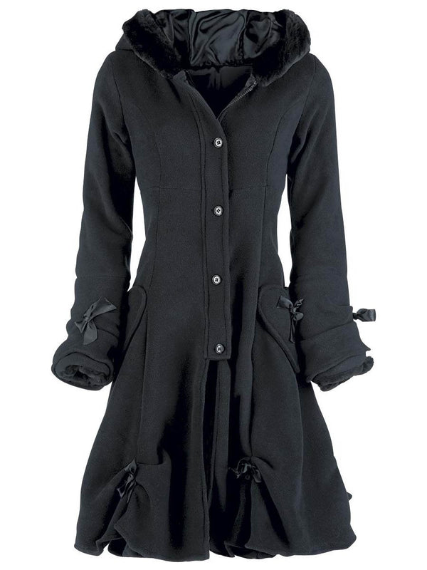 Single-Breasted Bowknot Pocket A Line Hooded Overcoat