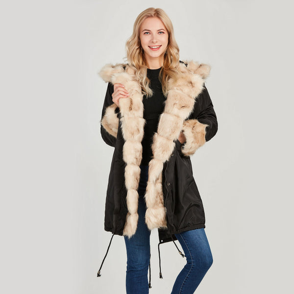 Faux Fur Hooded Plain Cotton Clothing