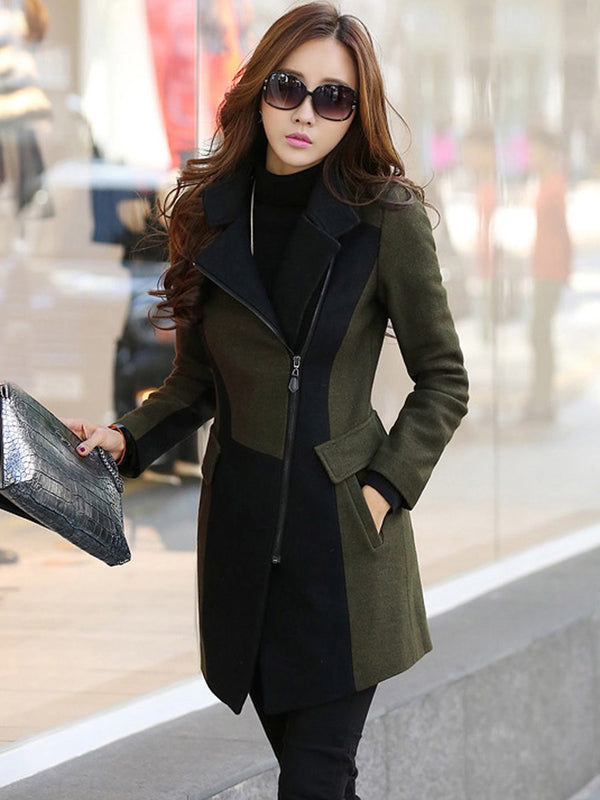 Oversize OL Style Stand Collar Zipper Plain Overcoat