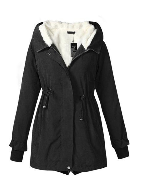 Thick Hooded Zipper Mid-length Cotton Overcoat
