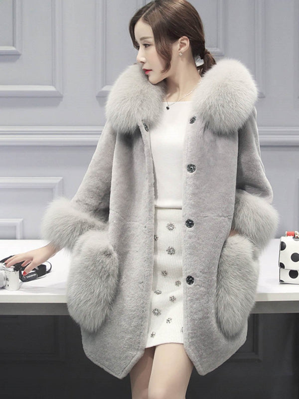 Fur Thick Mid-Length Patchwork Women's Overcoat