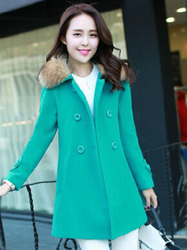 Double-Breasted Plain Pattern Lapel Mid-Length Overcoat