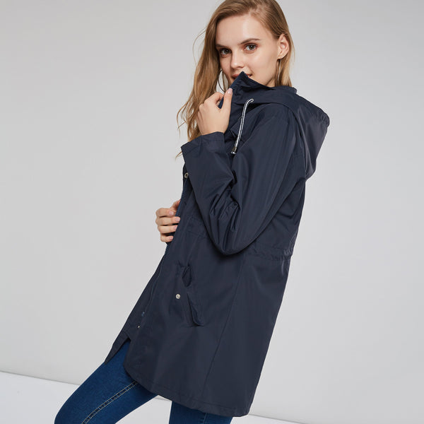 Lapel Slim Model Plain Zipper Patchwork Trench Coat