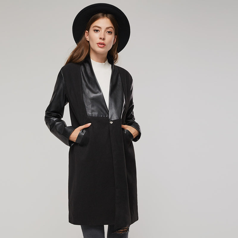 Neutral Style Slim Model Mid-Length Plain Overcoat