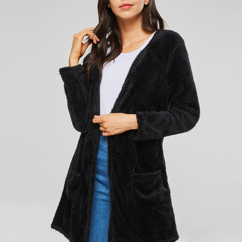 Plain Office Lady Style Loose Model Polyester Overcoat