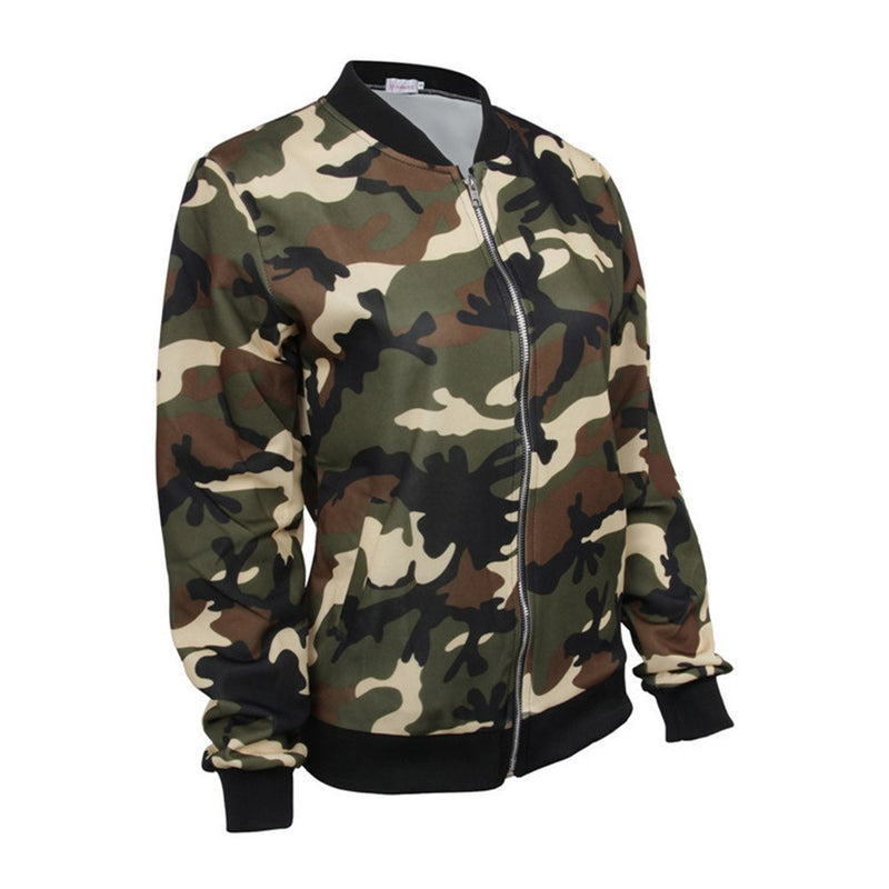 Camouflage Zipper Slim Model Neutral Style Jacket