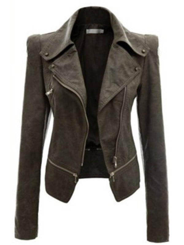 Slim Model Lapel Plain Zipper PU Jacket