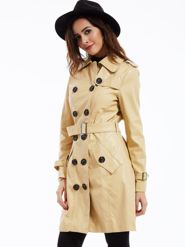 Mid-Length Belt Plain Stand Collar Double-Breasted Jacket