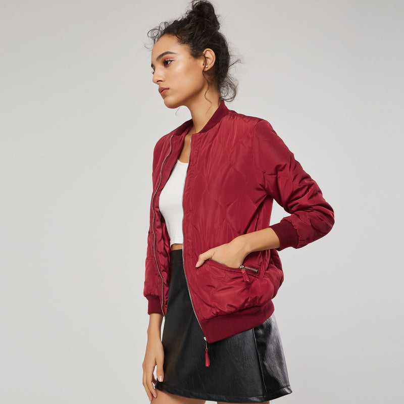 Plain Short Slim Zip Stylish Women's Jacket
