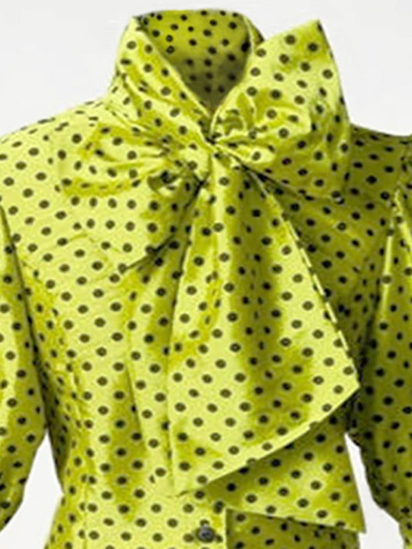 Polka Dot Bow Knot Single Breast Women's Blouse