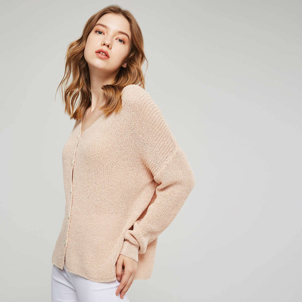 Sweet V-Neck Single-Breasted Women's Sweater