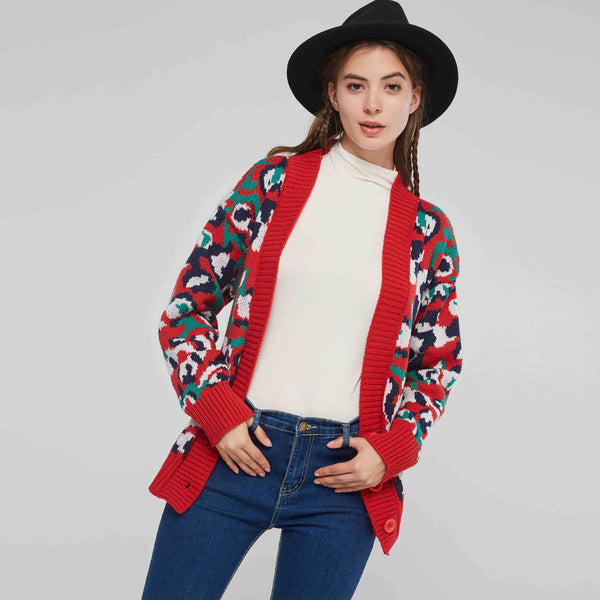 Loose Model V-Neck Cardigan Color Block Sweater